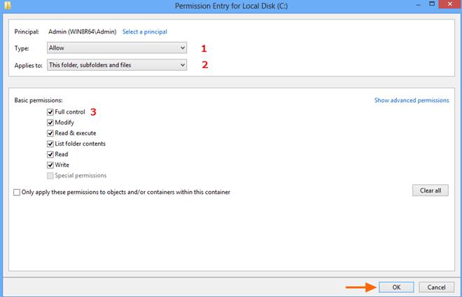 Windows 8 Refresh-Access Denied Disk C