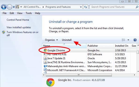 Step 2. Remove Google Chrome program folder and profile storage folder ...