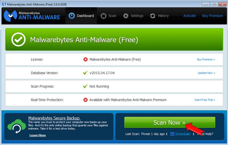 Malwarebytes Anti-Malware-scan
