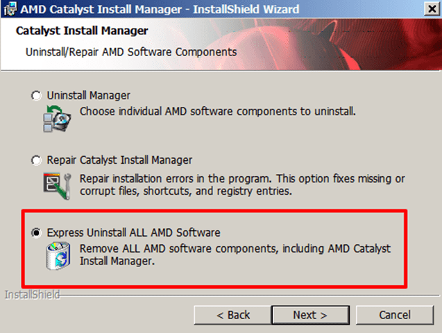 Uninstall AMD Software