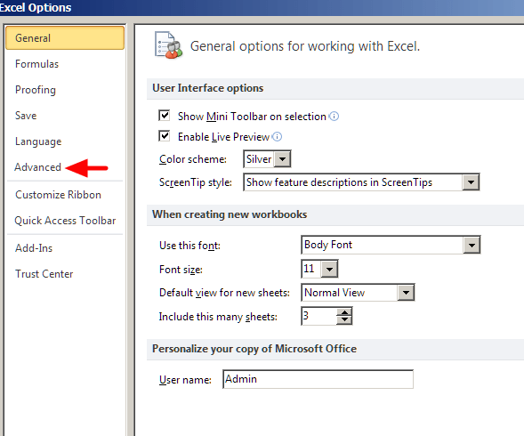 Excel Advanced Options
