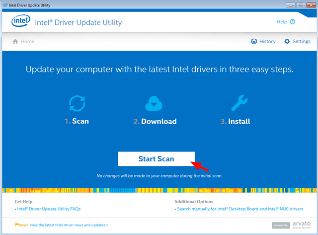 Start Scan Intel Driver Update Utility