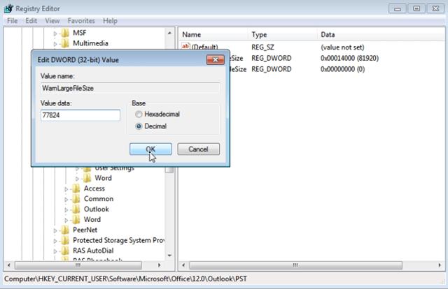 Set Outlook Warn Large File Size