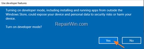 enable developer mode windows 10