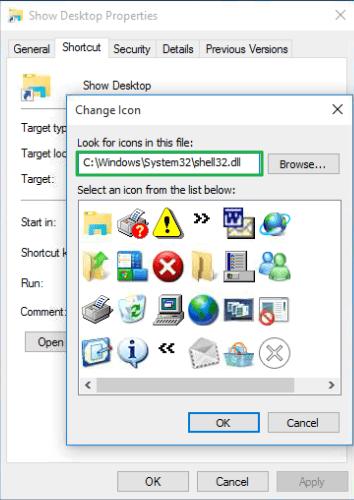 change show desktop icon