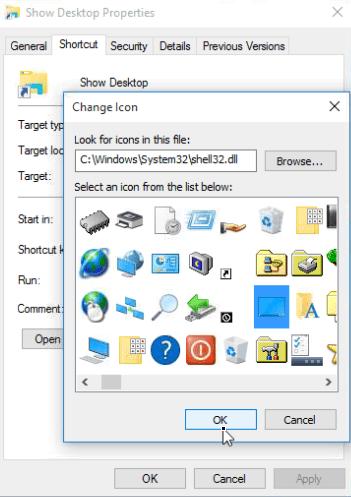 select show desktop icon