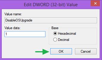 disable Windows OS Upgrade