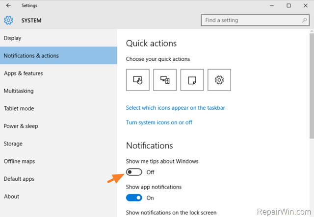 windows 10 disable notifications