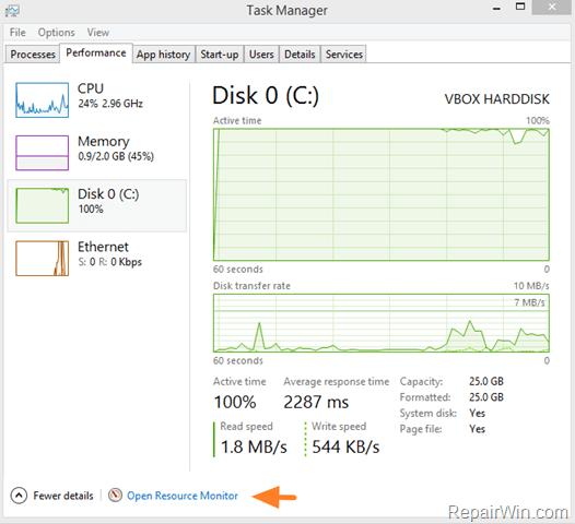 hard disk 100% windows 10