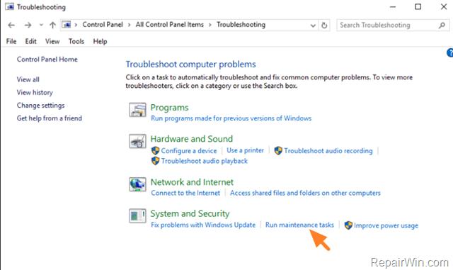 run maintenance in windows 10 & Windows 8