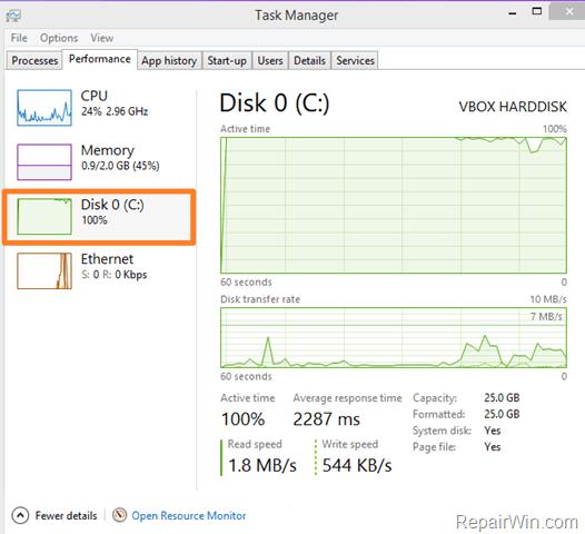 100% disk usage windows 10 fix
