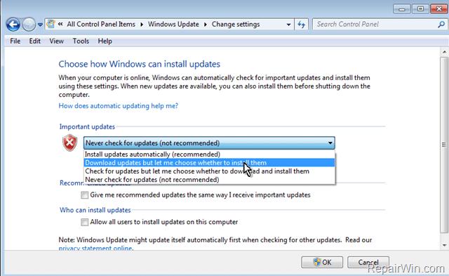 change update settings