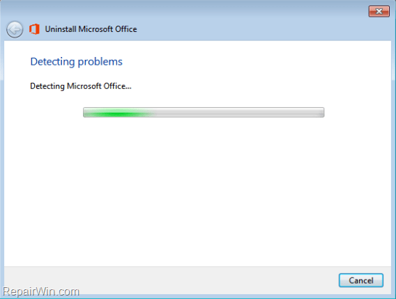 cannot uninstall office