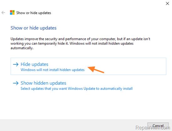 prevent a particular update on windows 10