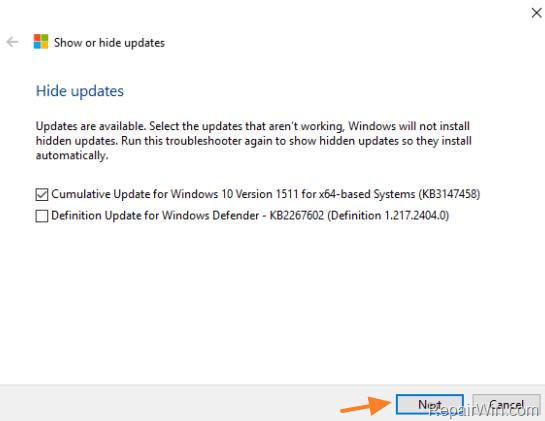 block automatic update installation windows 10
