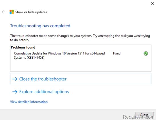 Show hide updates windows 10