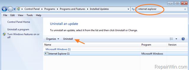 uninstall Internet Explorer