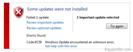 9C59 Internet Explorer 11 failed
