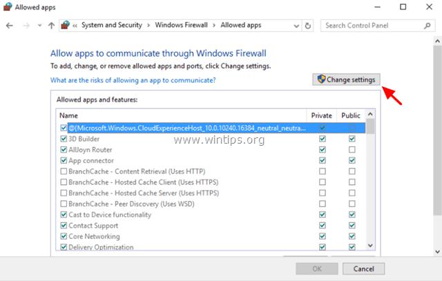 change firewall settings