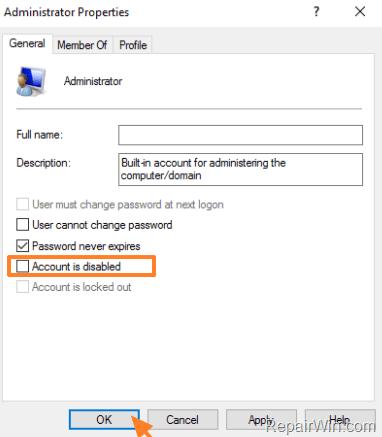 enable adminsitrator account