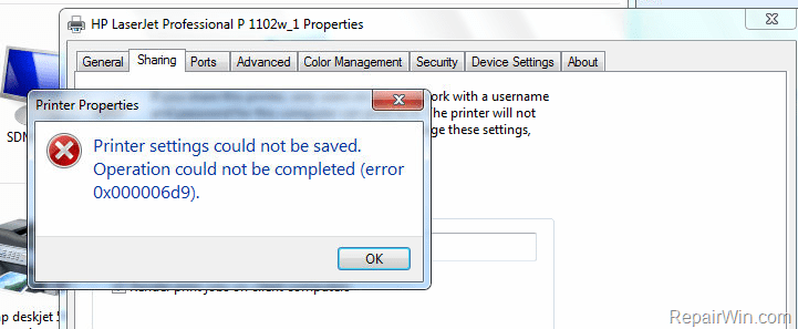 Error 0x000006D9 when sharing a printer