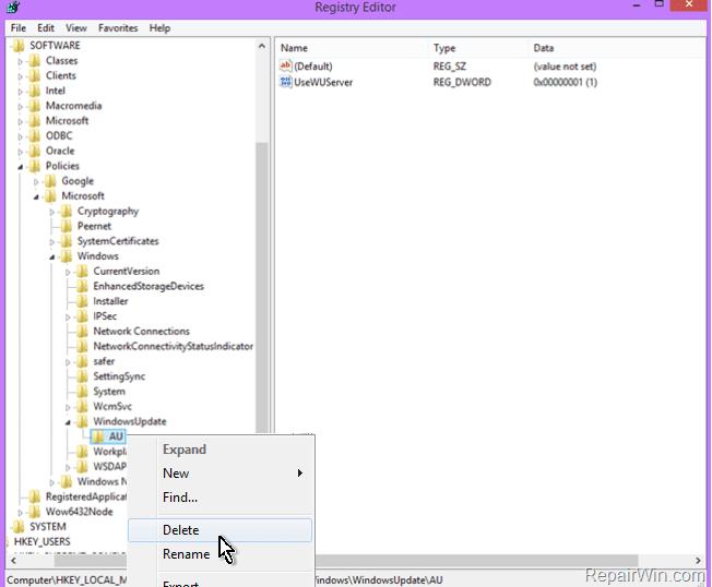 Windows Update Server Settings Registry
