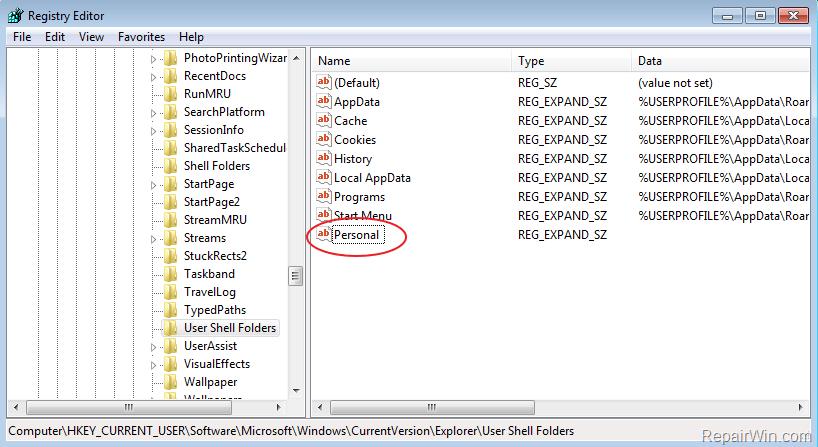 move folder location registry