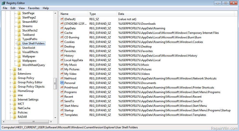 Change Personal Folders Location in Registry
