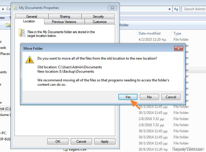 change my documents location