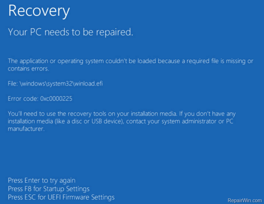 Your PC needs to be repaired, Error 0xc0000225 on Windows 10/8