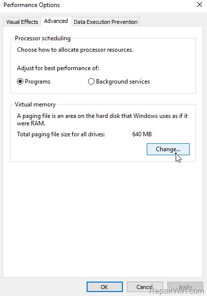 modify paging file