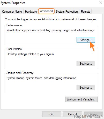 performance settings