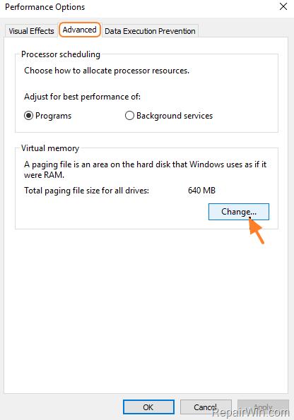 change pagefile size