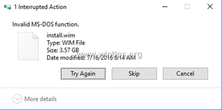 Invalid MS-DOS function