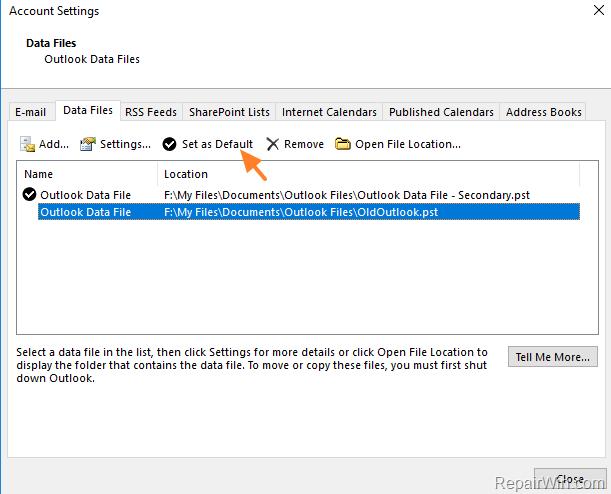 choose default outlook pst file