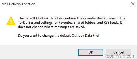 set default outlook pst file