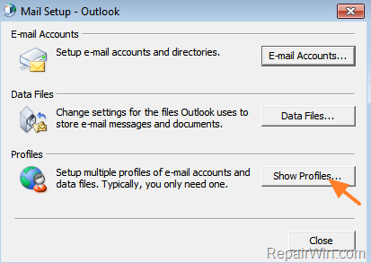 Create Secondary Outlook Profile