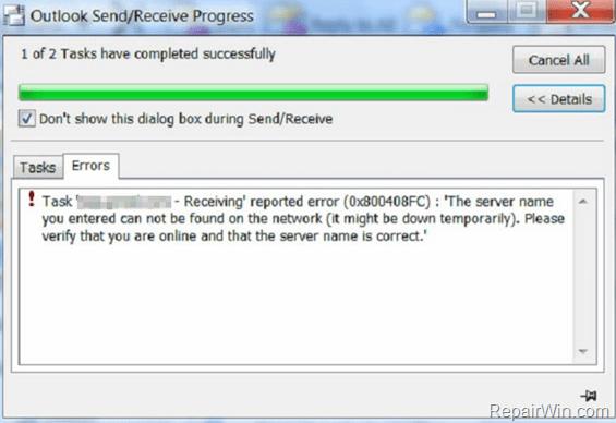 Outlook 0x800408FC error during Send-Receive (Solved) • Repair Windows™