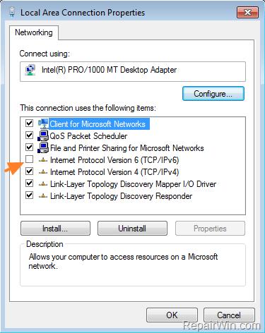 disable tcp/ipv6