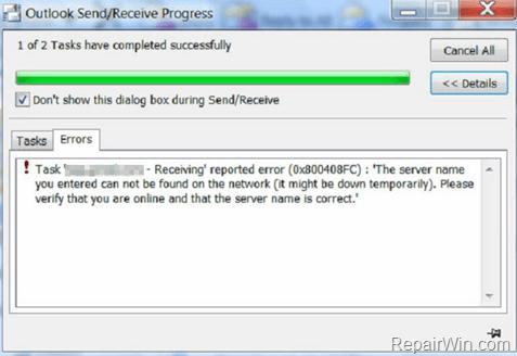 Outlook 0x800408FC error