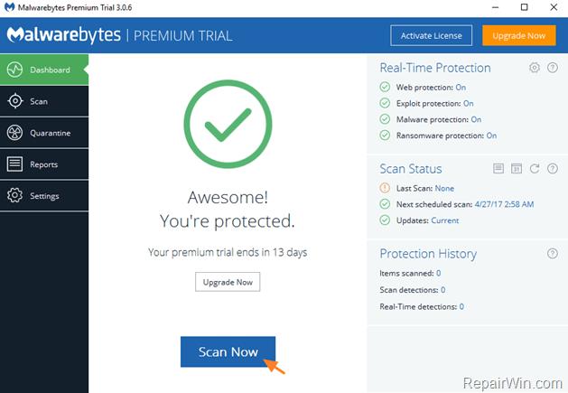 malwarebytes 3 scan
