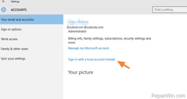 How to Remove Microsoft Account in Windows 10/8.1 • Repair Windows™