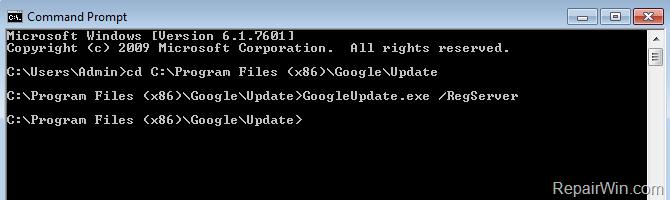 GoogleUpdate.exe /RegServer