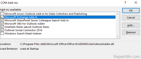 turn off outlook add-ins