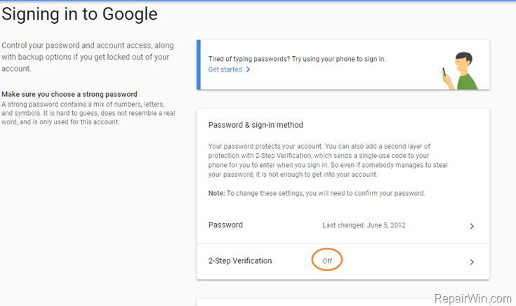 turn off 2 step verification gmail