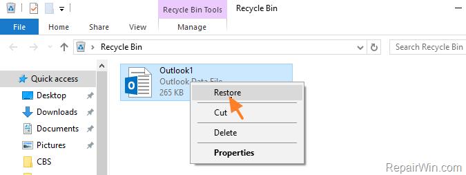 restore pst data file