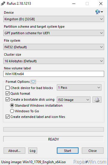 create Windows 10 usb installation media UEFI GPT