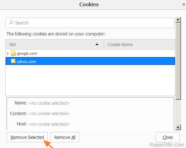 Clean Cookies firefox