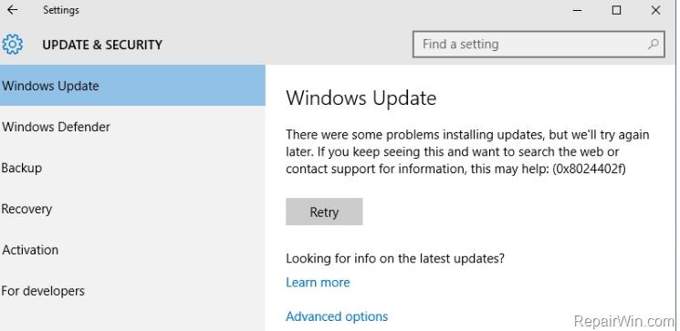 Windows 10 KB4054517 update fails