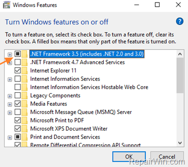 install net framework 3.5 windows 10